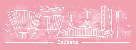 Incheon city in line art style; with watercolor splash background;