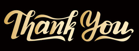 lettering text Thank You, golg with black colors, vector illustrations, phrase for typography .