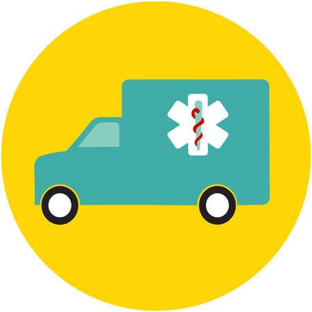 ambulance car, medical icon, vector flat illustration, for web, apps, print.