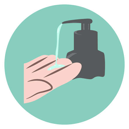 sanitizer bottle with hand, medical icon, vector flat illustration, symbols for web, apps or print Stock Illustratie