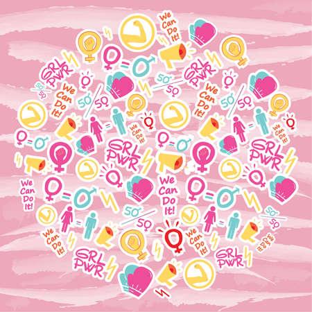 Vector pattern femenism illustration. Background image. banner, sticker. wallpaper. girl power. women hi for she, we can do it;