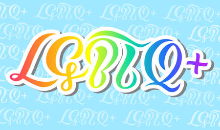 lgbtq   lettering color volume design with background calligraphy text for poster, logo or print for web or print.