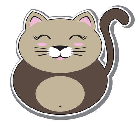 cute cat sticker, volume with shadow; can use for print, apps or web. staff for baby shower party