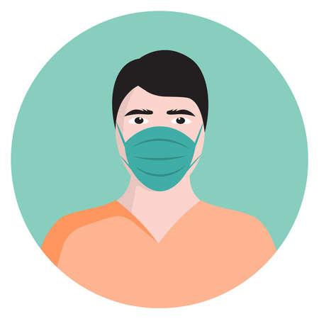 medical icon, men in face mask, vector flat illustration, symbols for web, apps or print 向量圖像