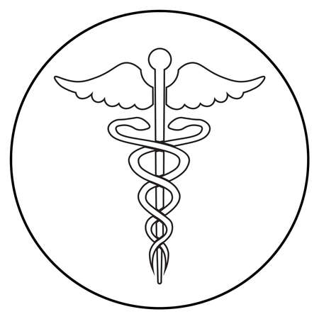 ambulance icon, line art style; two snakes and a stick; vector flat illustration, symbol for app, print or web.