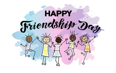 international friendship day handwritten lettering text with character and watercolor splash background; happy friends in bounce; calligraphy vector illustrations, holiday. Illustration
