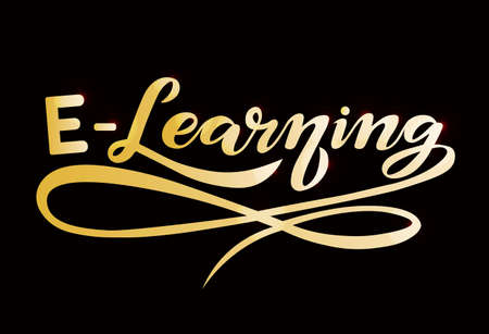 e-learning gold text; online education lettering design; handwritten font, study concept with calligraphy