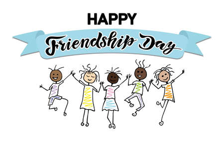 international friendship day handwrite lettering text with character and ribbon background; happy friends in bounce; calligraphy vector illustrations, holiday. Stock Illustratie