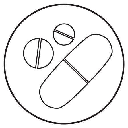 pills icon; line art style; vector illustration, symbol for app, print or web.