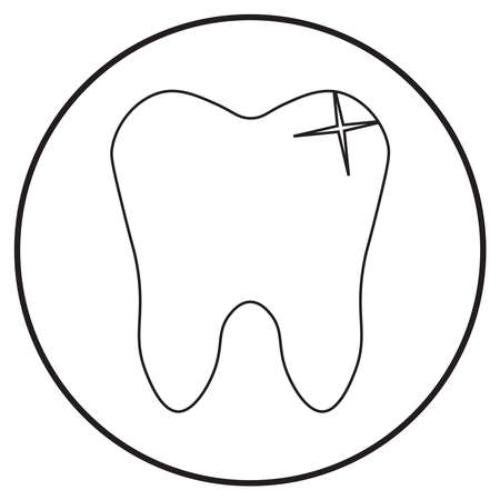 medical icon of healthy tooth, line art style; vector illustration, can use for app, print or web.