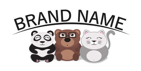 template for  cute animals include panda, bear, cat; can use for pet shop or zoo; or anything else.