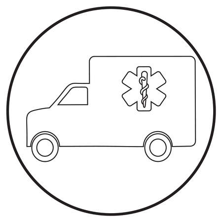 ambulance car in line art style; vector illustration, can use for app, print or web. Stock Illustratie