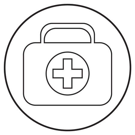 medical icon first aid kit; line art style; vector illustration, symbol for app, print or web. Stock Illustratie