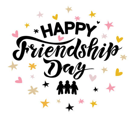 happy friendship day with background, handwrite lettering, calligraphy vector illustrations, international holiday, Vectores
