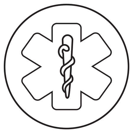 ambulance symbol in line art style; vector illustration, can use for app, print or web.