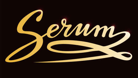 serum gold lettering text; calligraphy for label, handwritten vector illustration; picture for web or print Stock Illustratie