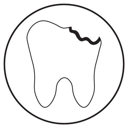 tooth with caries, medical icon in line art style; vector illustration, can use for app, print or web. Stock Illustratie