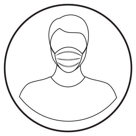man in face mask icon; healthcare workers in uniform; line art style; vector illustration, symbol for app, print or web.