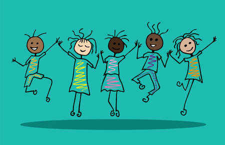 happy people jumping; party celebration; friends company; cartoon style vector illustrations Stock Illustratie