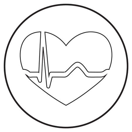 medical icon of cardiogram, heartbeat symbol in line art style; vector illustration, can use for app, print or web.