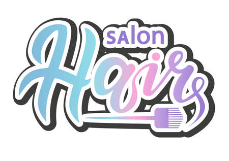 concept   for haircut salon or studio; hair lettering text; brand name vector illustration