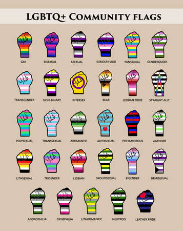 LGBT community flags on hands. stickers or poster for print or web.