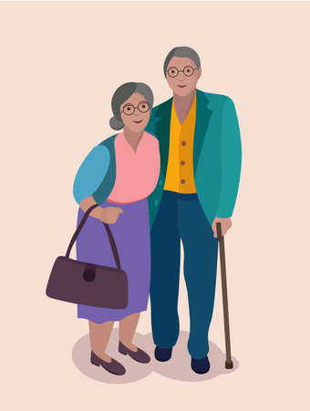 old couple, senior citizens, portrait poster of happy people. can use for print or web Stock Illustratie