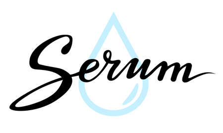 serum black lettering text; calligraphy for label, handwritten vector illustration; picture for web or print Stock Illustratie