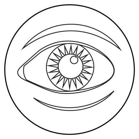 icon of eyes; line art style; vector flat illustration, symbol for app, print or web.