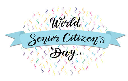 world senior citizens day. lettering text design. black color calligraphy with ribbon can use for print or web.