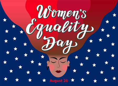 women's equality day lettering text with face silhouette on the USA flag. calligraphy for print or web. august celebrations. Stock Illustratie