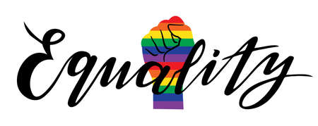 lgbtq lettering design; calligraphy text for poster  or print. all for love, love for all. equality hand