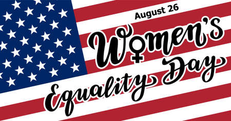 women's equality day lettering text with the USA flag. calligraphy for print or web. august celebrations. Stock Illustratie