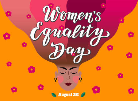 women's equality day lettering text with face silhouette. calligraphy for print or web. august celebrations.