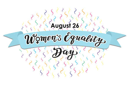 women's equality day lettering text. calligraphy for print or web. august celebrations. Stock Illustratie