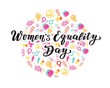 women's equality day lettering text. calligraphy for print or web. august celebrations. girl power. women; hi for she, we can do it; Stock Illustratie