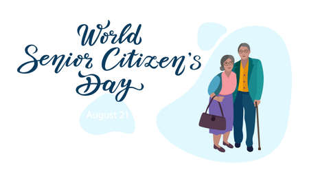 world senior citizens day poster with lettering text design and couple characters. can use for print or web. Stock Illustratie