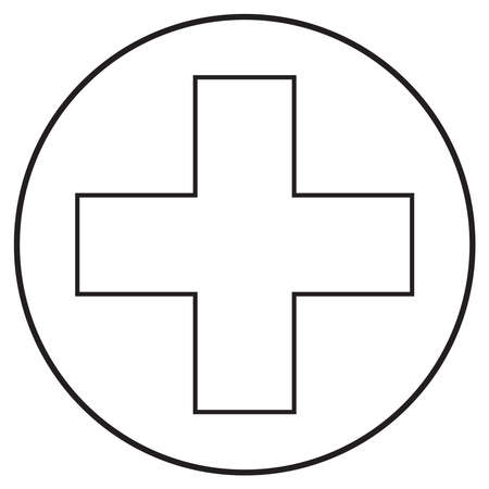 ambulance medical icon; line art style; vector illustration, symbol for app, print or web.