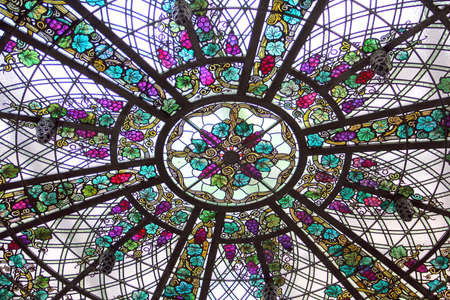 Stained glass ceiling in a castle