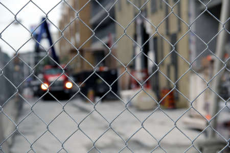 Construction site with iron net fence