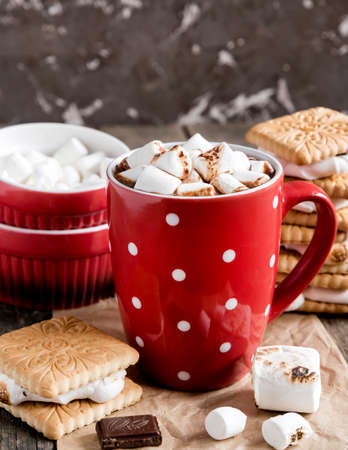 Close up red cup with hot chocolate and marshmallow Stock Photo