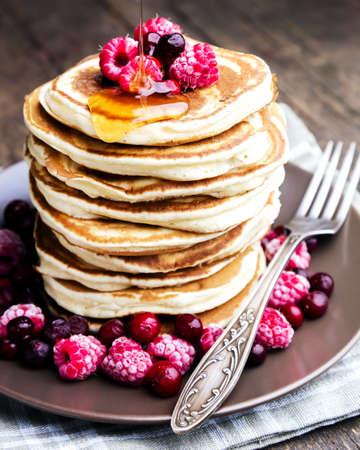 Pancakes Raspberry Honey Close up Stock Photo