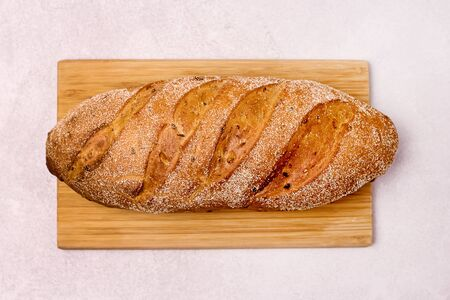 Tasty Homemade Bread on Wooden Board Light Gray Background Top View Horizontal 写真素材