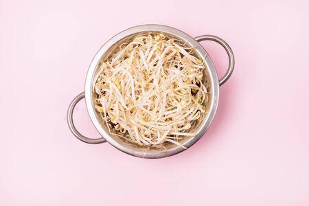 Colander wirh Raw Mung Bean Sprouts Top View Horizontal Vegan Healthy Food
