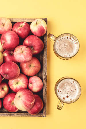 Mug of Cold Apple Cider and Ripe Apples Autumn Drink Top View Vertical
