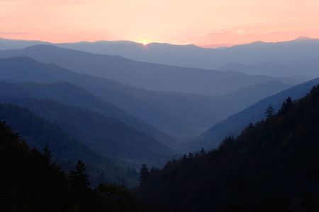 ridgeline: First Light - The first glimpse of sunlight in the Smoky Mountains National Park, USA. Stock Photo