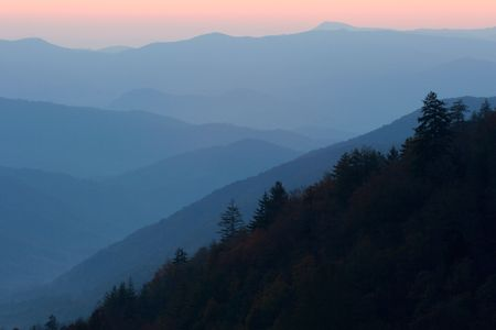 ridgeline: Pastel Mountain Layers - Sunrise in the Smoky Mountains National Park, USA.