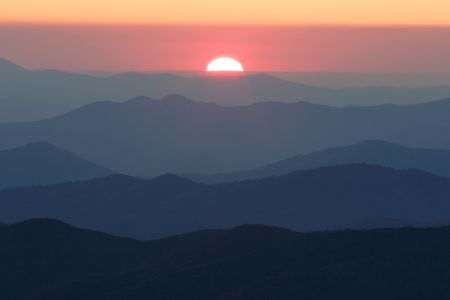 ridgeline: Setting Sun from Clingmans Dome - Smoky Mountains National Park, USA.