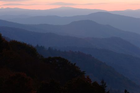 ridgeline: Sunrise Mountain Layers - Smoky Mountains Nat. Park, USA.