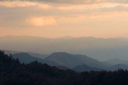 appalachian: Sunset in the Smoky Mountains Nat. Park, USA.